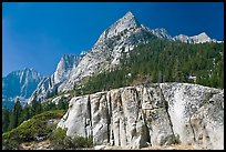 Granite block and peak, Le Conte Canyon. Kings Canyon National Park, California, USA.