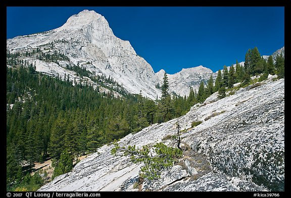 Granite slab and Langille Peak, Le Conte Canyon. Kings Canyon National Park (color)