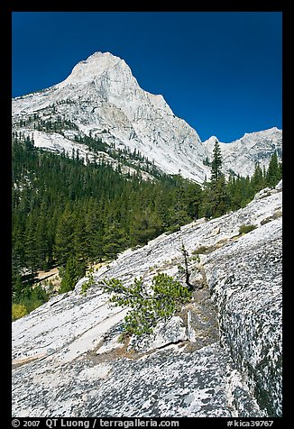 Langille Peak and Granite slab in Le Conte Canyon. Kings Canyon National Park (color)