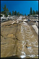 Water cascade over granite slab, Le Conte Canyon. Kings Canyon National Park, California, USA. (color)