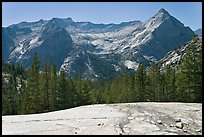 Granite slab, Langille Peak and the Citadel above Le Conte Canyon. Kings Canyon National Park, California, USA.