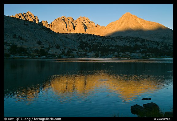 Palissades and Columbine Peak reflected in lake at sunset. Kings Canyon National Park (color)