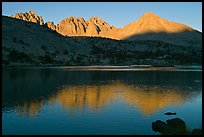 Palissades and Columbine Peak reflected in lake at sunset. Kings Canyon National Park ( color)