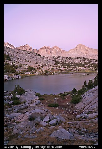 Palissades and Columbine Peak above lake at dusk, Lower Dusy basin. Kings Canyon National Park (color)