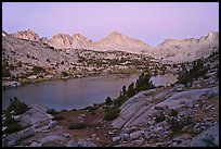 Palissade range and lake at dusk, Lower Dusy basin. Kings Canyon National Park, California, USA.