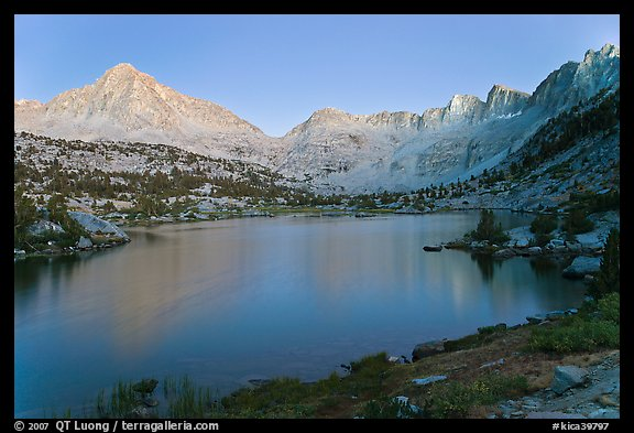Columbine Peak, Palissades, and Mt Giraud at dusk above lake. Kings Canyon National Park (color)