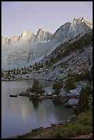 Lake and Mt Giraud at dusk, Lower Dusy basin. Kings Canyon National Park, California, USA.