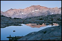 Mountains and lake, upper Dusy basin, sunrise. Kings Canyon National Park, California, USA.