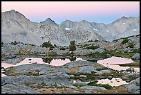 Alpine lakes and mountain range at dawn, Dusy Basin. Kings Canyon National Park ( color)