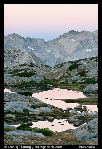 Alpine tarns and mountains, dawn, Dusy Basin. Kings Canyon National Park (color)