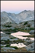 Alpine tarns and mountains, dawn, Dusy Basin. Kings Canyon National Park, California, USA.
