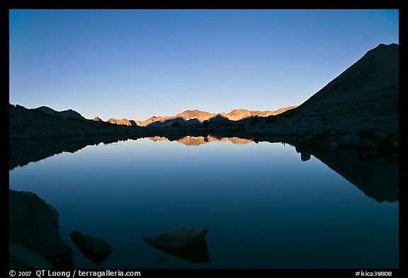 Lake and reflections, early morning, Dusy Basin. Kings Canyon National Park (color)