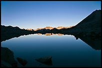 Lake and reflections, early morning, Dusy Basin. Kings Canyon National Park, California, USA.