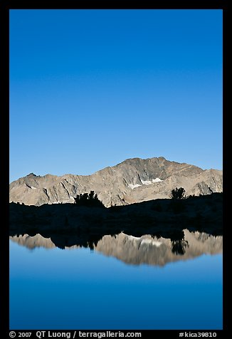 Peak reflections, early morning, Dusy Basin. Kings Canyon National Park (color)