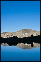Peak reflections, early morning, Dusy Basin. Kings Canyon National Park, California, USA.