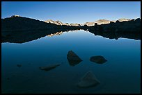 Rocks and calm lake with reflections, early morning, Dusy Basin. Kings Canyon National Park, California, USA. (color)