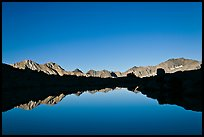 Mountain range reflected in calm lake, Dusy Basin. Kings Canyon National Park, California, USA.