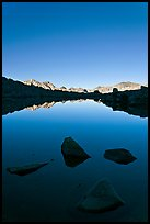 Rocks and calm lake with mountain reflections, early morning, Dusy Basin. Kings Canyon National Park, California, USA. (color)