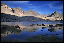 Mt Agasiz, Mt Thunderbolt, and Isoceles Peak reflected in a lake in Dusy Basin, late afternoon. Kings Canyon National Park, California, USA. (color)