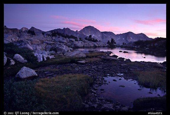Ponds in Dusy Basin and Mt Giraud, sunset. Kings Canyon National Park (color)