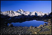Pond in Dusy Basin and Mt Giraud, early morning. Kings Canyon National Park, California, USA.
