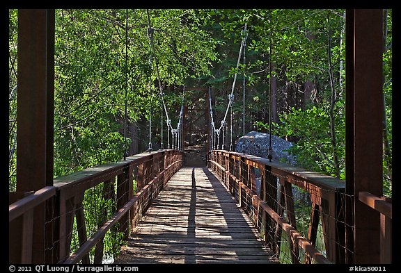Suspension footbridge to Zumwalt Meadow. Kings Canyon National Park, California, USA.