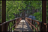 Suspension footbridge to Zumwalt Meadow. Kings Canyon National Park, California, USA. (color)