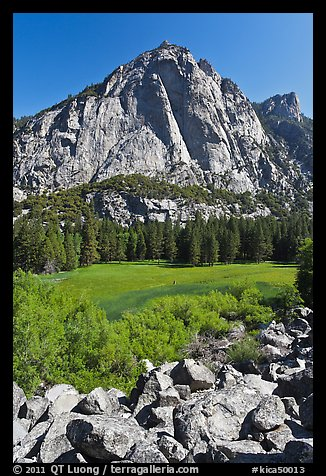 High granite walls above lush meadow. Kings Canyon National Park (color)