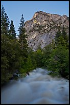 Roaring River flowing at dusk. Kings Canyon National Park, California, USA. (color)