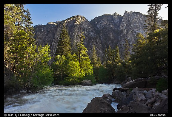 Rushing river and trees, and cliff in spring. Kings Canyon National Park, California, USA.