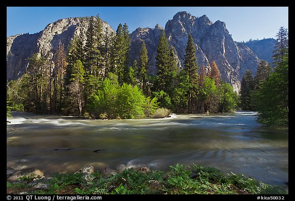 Kings River flowing at the base of high cliffs. Kings Canyon National Park (color)