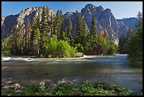 Kings River flowing at the base of high cliffs. Kings Canyon National Park ( color)