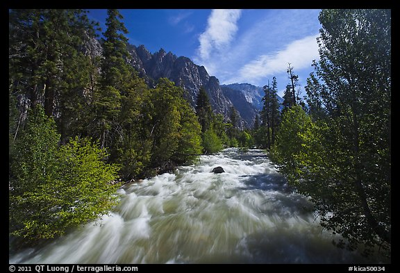 South Forks of the Kings River flowing through valley, Cedar Grove. Kings Canyon National Park (color)