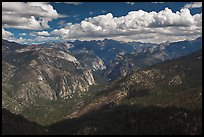 Cedar Grove Valley view and clouds. Kings Canyon National Park, California, USA.