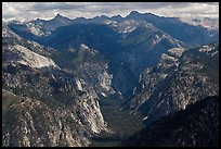 Glacial valley from above, Cedar Grove. Kings Canyon National Park, California, USA.