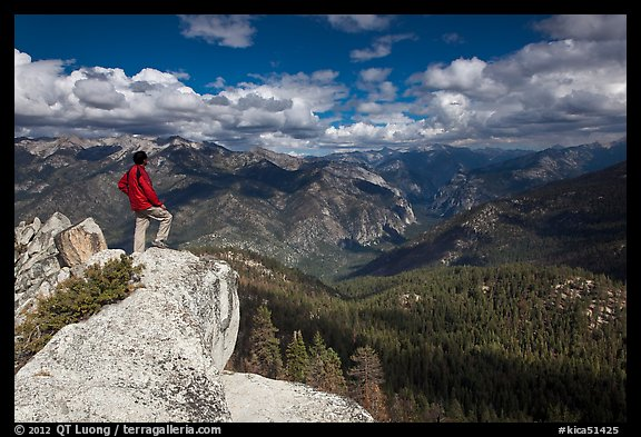 Park visitor looking, Lookout Peak. Kings Canyon National Park (color)