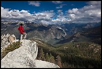 Man looking from summit of Lookout Peak. Kings Canyon National Park, California, USA. (color)