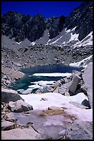 Alpine lake in early summer. Kings Canyon  National Park, California, USA.