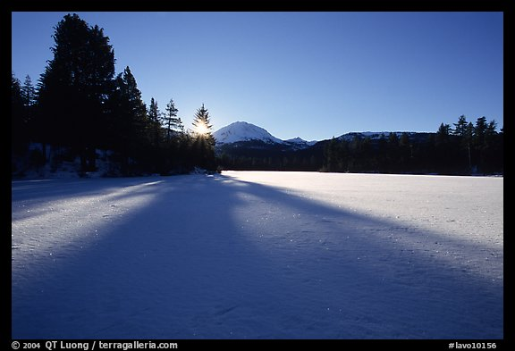 Frozen Manzanita Lake, winter sunrise. Lassen Volcanic National Park (color)