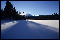 Frozen Manzanita Lake, winter sunrise. Lassen Volcanic National Park, California, USA.