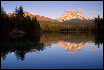 Manzanita lake and Mount Lassen in early summer, sunset. Lassen Volcanic National Park, California, USA.