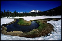 Stream in partly snow-covered Dersch meadows, morning. Lassen Volcanic National Park, California, USA.
