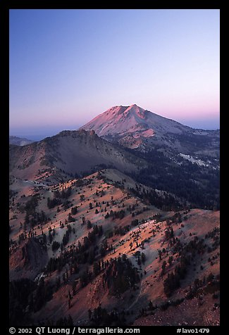 Mt Diller, Pilot Pinnacle, and Lassen Peak from Brokeoff Mountain, sunset. Lassen Volcanic National Park (color)