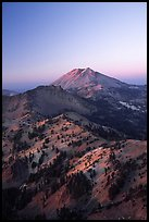 Mt Diller, Pilot Pinnacle, and Lassen Peak from Brokeoff Mountain, sunset. Lassen Volcanic National Park, California, USA. (color)
