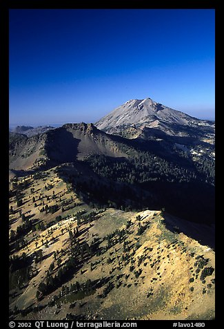 Mt Diller, Pilot Pinnacle, and Lassen Peak from Brokeoff Mountain, late afternoon. Lassen Volcanic National Park, California, USA.