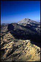 Mt Diller, Pilot Pinnacle, and Lassen Peak from Brokeoff Mountain, late afternoon. Lassen Volcanic National Park, California, USA. (color)