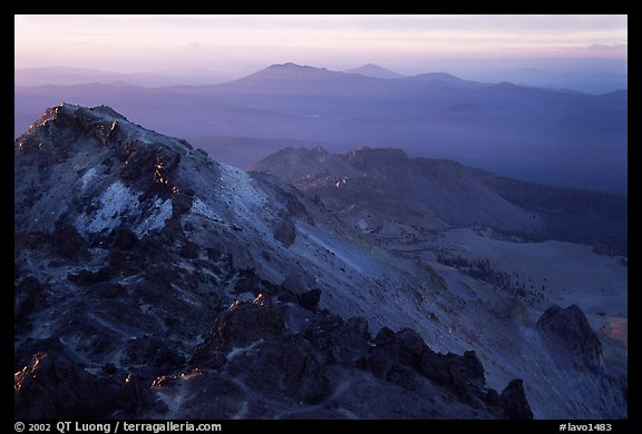 Summit of Lassen Peak with volcanic formations, sunset. Lassen Volcanic National Park (color)