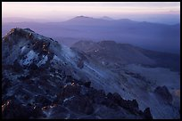 Summit of Lassen Peak with volcanic formations, sunset. Lassen Volcanic National Park, California, USA.