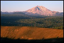 Top of Cinder cone and Lassen Peak, sunrise. Lassen Volcanic National Park, California, USA.