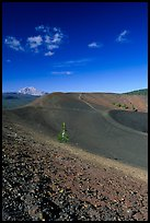 Barren cinder slopes in cone. Lassen Volcanic National Park, California, USA. (color)